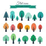 Ensemble de vecteur avec des arbres plats colorés Images libres de droits