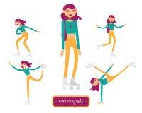 Ensemble de vecteur avec le beau caractère de jeune fille sur des rouleaux de quadruples dans diverses poses Fille patinant, fais illustration de vecteur