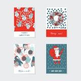 Ensemble de vecteur avec les cartes de Noël verticales décorées des éléments et des détails tirés par la main Photographie stock