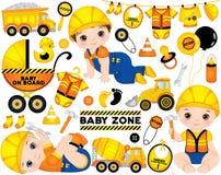 Ensemble de vecteur avec les garçons mignons habillés en tant que de petits constructeurs, transport de construction et accessoir Images libres de droits