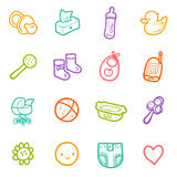 Ensemble de vecteur avec les icônes peu précises de bébé d'isolement sur le blanc Images stock