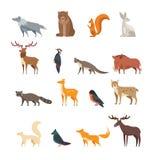 Ensemble de vecteur de bande dessinée d'animaux sauvages et d'oiseaux de forêt d'isolement Cerfs communs plats, ours, lapin, écur Photographie stock