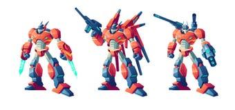 Ensemble de vecteur de bande dessinée de robots de bataille de transformateur illustration de vecteur