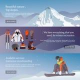 Ensemble de vecteur bannières de ski et de surf des neiges d'équipement Photos stock