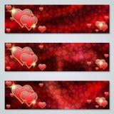 Ensemble de vecteur de bannières de jour du ` s de Valentine Photo stock