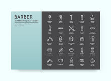 Ensemble de vecteur Barber Shop Elements et d'icônes Illustra de boutique de rasage Images stock
