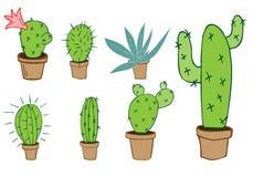 Ensemble de vecteur de cactus et d'aloès verts à la maison dans le pot brun Images stock