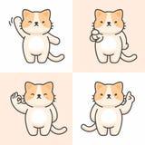 Ensemble de vecteur de caractères mignons de chat image stock
