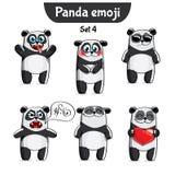 Ensemble de vecteur de caractères mignons de panda Positionnement 4 illustration stock