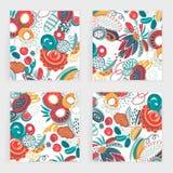 Ensemble de vecteur de cartes carrées Formes abstraites tirées par la main, griffonnages, spirales Souille des taches d'american  Image stock