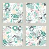 Ensemble de vecteur de cartes carrées Formes abstraites tirées par la main, griffonnages, spirales Souille des taches d'american  Photo libre de droits