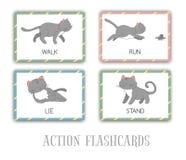 Ensemble de vecteur de cartes flash d'actions avec le chat illustration stock