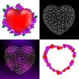Ensemble de vecteur de cartes de voeux heureuses de jour du ` s de Valentine avec le coeur, les fleurs rouges et le coeur se comp Photographie stock libre de droits