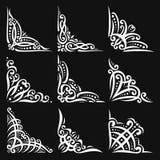 Ensemble de vecteur de coins blancs décoratifs illustration stock