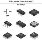 Ensemble de vecteur de composants électroniques izometric puces illustration de vecteur