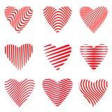 Ensemble de vecteur de conceptions de coeur réglées sur le fond blanc photographie stock