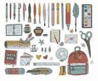 Ensemble de vecteur de couleur d'accessoires de dessin Approvisionnements de dessin de griffonnage pour l'école et le bureau illustration libre de droits