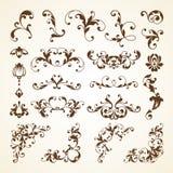 Ensemble de vecteur d'éléments calligraphiques de conception de décoration ornementale décorative de page de vintage pour l'invit Photos stock