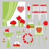 Ensemble de vecteur d'éléments décoratifs de mariage Image stock