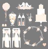 Ensemble de vecteur d'éléments décoratifs de mariage Photo stock