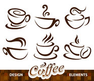 Ensemble de vecteur d'éléments de conception de café Photographie stock