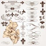Ensemble de vecteur d'éléments de conception de vintage et de deco calligraphiques de page Image stock