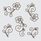 Ensemble de vecteur d'éléments de fleur illustration stock