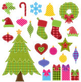 Ensemble de vecteur d'éléments de Noël de patchwork Photographie stock