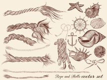 Ensemble de vecteur d'éléments de vintage sur le thème de vacances de mer pour la conception Photographie stock