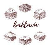 Ensemble de vecteur d'éléments du Moyen-Orient tirés par la main de baklava de dessert Photo libre de droits