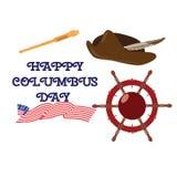 Ensemble de vecteur d'éléments plats heureux de conception de style de jour de Columbus illustration stock