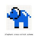 Ensemble de vecteur d'éléphant d'art de pixel de point de croix Photos stock