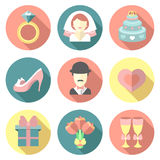 Ensemble de vecteur d'épouser les icônes plates avec le long effet d'ombres Symboles de mariage d'isolement sur le fond blanc Photo libre de droits