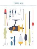 Ensemble de vecteur d'équipement de pêche Image stock