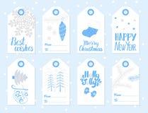 Ensemble de vecteur d'étiquettes de cadeau de Noël et de nouvelle année Photographie stock