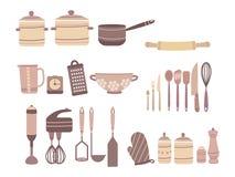 Ensemble de vecteur d'accessoires de cuisine Collection d'accessoires culinaires dans le style de bande dessinée Couteaux et Cast Illustration Libre de Droits