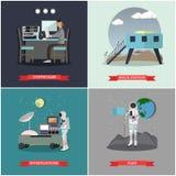 Ensemble de vecteur d'affiches d'exploration de planète, bannières dans le style plat illustration de vecteur