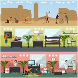 Ensemble de vecteur d'affiches de concept d'archéologues, bannières, style plat illustration libre de droits