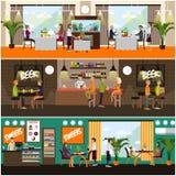 Ensemble de vecteur d'affiches de concept de bar et de restaurant, style plat Photo stock