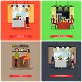Ensemble de vecteur d'affiches de concept de bar et de restaurant, style plat Images libres de droits