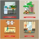Ensemble de vecteur d'affiches de premiers secours dans le style plat illustration stock