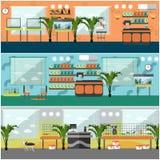 Ensemble de vecteur d'affiches intérieures de concept de magasin de bêtes, style plat Photo libre de droits