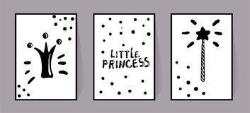 Ensemble de vecteur d'affiches monochromes avec les inscriptions petite princesse, la couronne et le bâton magique, point de modè illustration libre de droits