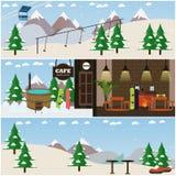 Ensemble de vecteur d'affiches plates intérieures d'amusement d'hiver, bannières Images stock