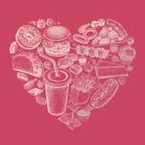 Ensemble de vecteur d'aliments de préparation rapide sous forme de coeur Image stock