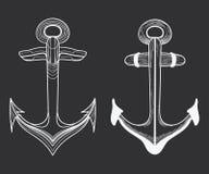 Ensemble de vecteur d'ancres stylisées de bateau art linéaire Collection de tatouages avec une ancre Illustration Stock