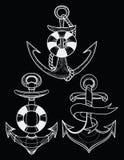Ensemble de vecteur d'ancres stylisées de bateau art linéaire Collection de tatouages avec une ancre Illustration Libre de Droits