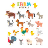Ensemble de vecteur d'animaux de ferme Animaux mignons de dessin animé Photographie stock libre de droits