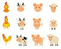 Ensemble de vecteur d'animaux de ferme d'isolement Photo stock