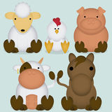 Ensemble de vecteur d'animaux de ferme mignons de bande dessinée Images libres de droits